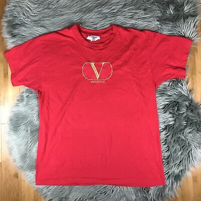VTG Valentino Intimo Large XL Red Gold Streetwear Embroidered Logo T-Shirt
