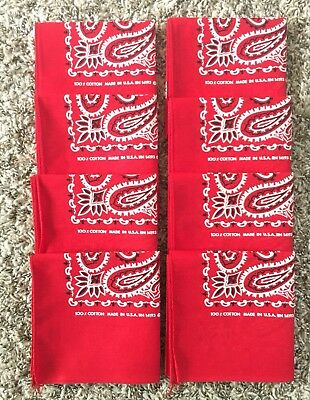Lot Of 8pcs Vintage DeadStock Bandana handkerchief Red Fast Color Made in USA