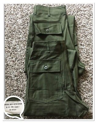 Lot 2 Vtg DeadStock OG-107 US Army,Military Trouser Pants Size 30x30 Made in USA