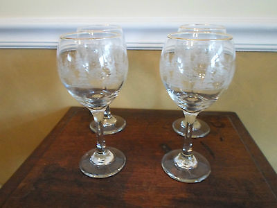 Arby's Arby Crystal Winter Scences 4 Etched Water Wine Goblets Glasses Gold Rim