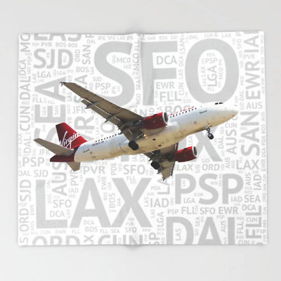 """Virgin America A319 with Airport Codes- Throw Blanket (51"""" x 60"""")"""