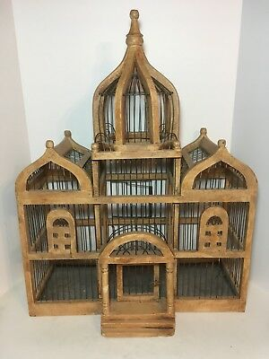 """Vintage Victorian Dome TAJ MAHAL Style Wood & Wire BIRD House CAGE 25"""""""