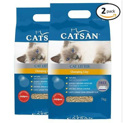 x2 Natural Clumping Clay Cat Litter Bags 7kg Clumping Clay Pet Kitten Litter