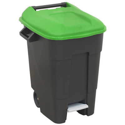 BM100PG Sealey Refuse/Wheelie Foot Pedal 100ltr - Green Janitorial Litter Bins