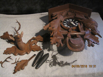 Vintage Very Large Black Forest Cuckoo Clock Needs Tlc Spares Repairs