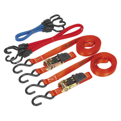 TD285SBD Sealey Tie Down & Bungee Cord Set 6pc [Tie Downs Ratchet]