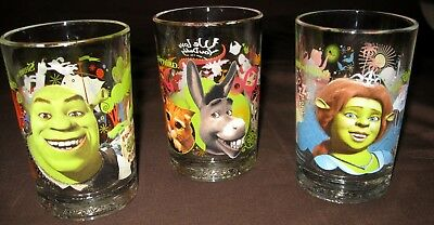 3 McDonalds SHREK THE THIRD Collector Glass Tumblers 2007 Dreamworks