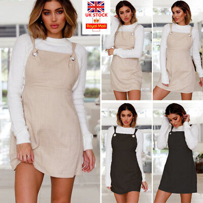 UK Women Retro Strappy Mini Dress Ladies Casual Pinafore Dungaree Skater Dress
