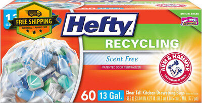 Hefty Recycling Trash/Garbage Bags (Clear, Kitchen Drawstring, 13 Gallon, 60...