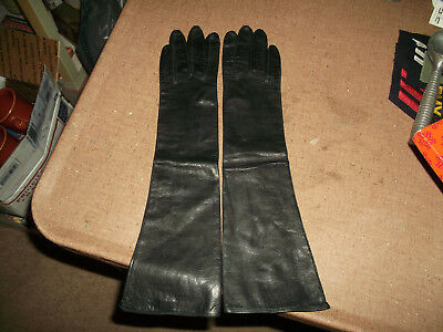 Collectible Vintage Women's Leather Gloves - Elbow Length, Silk Lined - 7's