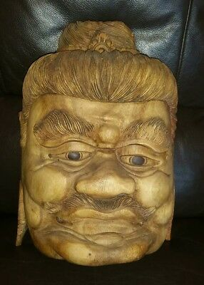 "Large Old Hand Carved Wooden Tribal Mask 14"" × 10 1/2"""