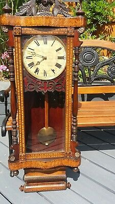 LARGE BEAUTIFULLY INLAID JEROME & Co GRAND SUPERIOR 8 DAY  AMERICAN WALL CLOCK.