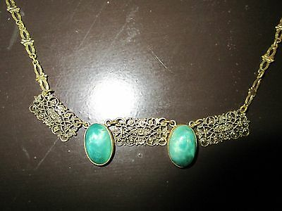 Alte Kette, Collier mit Jadecabochons