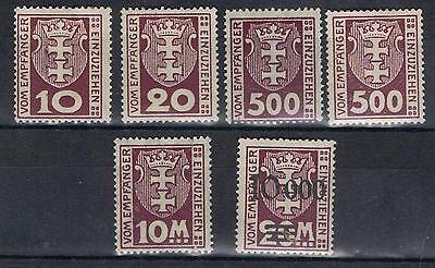 Danzig 1921 1923 Postage dues selection Mint MH and MNH