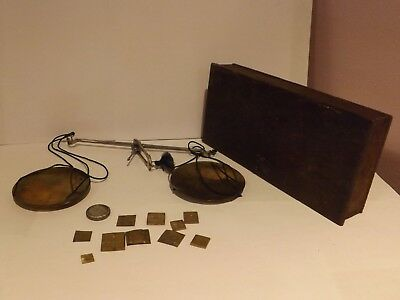 Vintage Gold Precious Metal Traveling Scales..in Wooden Box....
