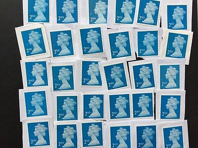 100 x 2nd Class GB Blue Security Unfranked Stamps On Paper
