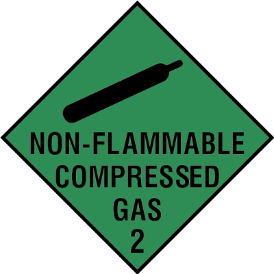 Non-flammable compressed gas 2 sign, plastic & sticker options