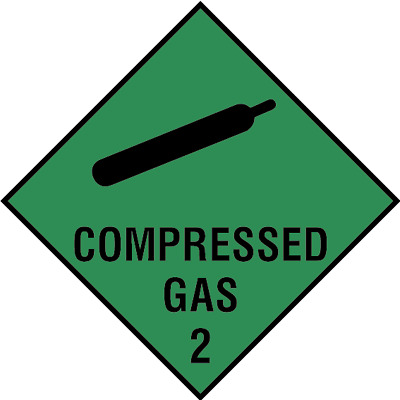 Compressed gas 2 sign, plastic & sticker options