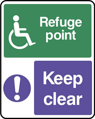 Disabled refuge point keep clear sign, plastic & sticker options