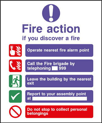 Fire action safety sign, plastic & sticker options