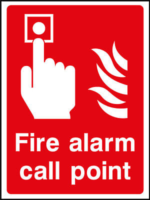 Fire alarm call point sign, plastic & sticker options