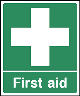 First aid sign, plastic & sticker options