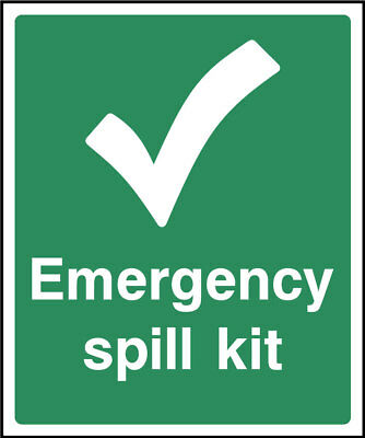 Emergency spill kit sign, plastic & sticker options