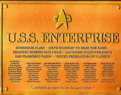 USS ENTERPRISE 1701-E Widmungs-Plakette Star Trek Eaglemoss Dedication Plaque x