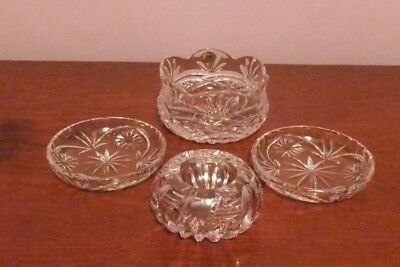 4 Crystal Dishes including Decorative Tyrone Crystal Bowl.