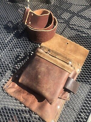 Bob's Brown Leather Tool Pouch & Belt 50th Anniversary Carpentry Roofer Etc