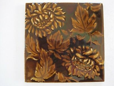Antique Victorian Craven Dunhill Moulded And Majolica Glazed Wall Tile Brown