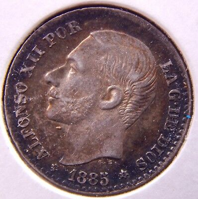 Spain 1885/1 (86) * Alfonso XII, Nice Silver Coin  Superb toning! ¡Moneda Bella!