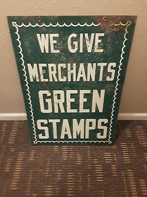 Extremely Rare Vintage We Give Merchants Green Stamps Metal Embossed Two Sided