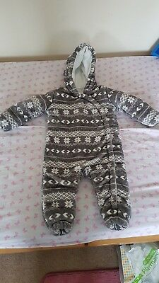 Baby Boys Winter All In One Coat / Snowsuit Age 12-18 months