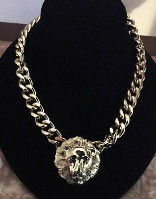"Gold Tone Lion Head Heavy Necklace 16"" /2"" Extent Chain"