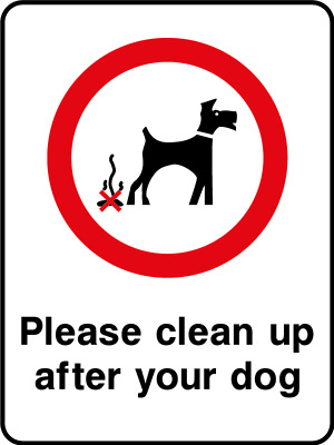 Please clean up after your dog sign, plastic & sticker options