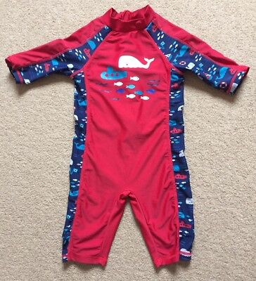 Mothercare Boys Red Whale Sun Suit UPF 40+ 18-24 Months