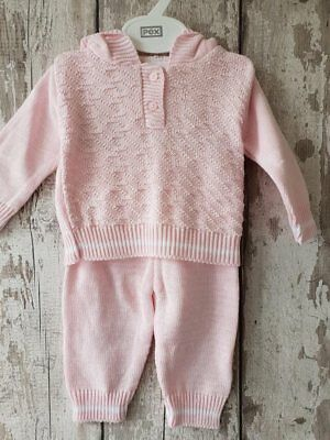 Spanish Style Baby Girl Pink Knitted 2 Piece Set / Outfit.