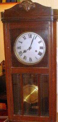 VINTAGE CHIMING WALL CLOCK PENDULUM WALL CLOCK WORKING 1930's