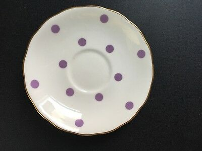 royal vale bone china Spare Saucer Purple/lilac Polka Dot