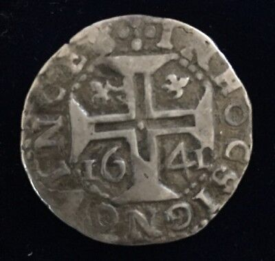 1641 Portugal Tostao 100 Reis Silver Coin Ioannes IIII Rare Portuguese Nice