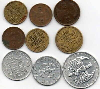 World Coins Germany,olderDDR, Empire, WWI, Weimar, Nazi, Marks (370+circ)