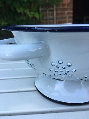 Retro White & Blue Enamel Colander Kitchenalia Vintage