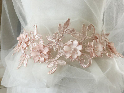 Pink Floral Lace Motif Embroidery Wedding Gown Trim Beaded Dress Applique 1 PC