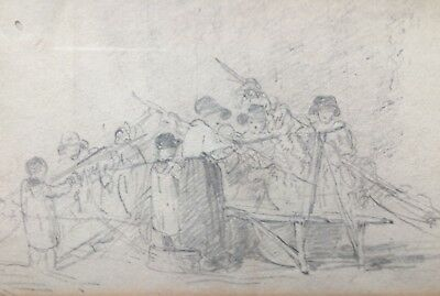"19th CENTURY  ""RARE"" STUDY OF HOP PICKERS IN PENCIL DOUBLE PICTURE - FRAMED"