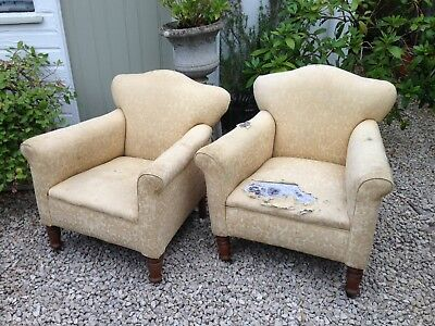 Victorian Low Rise Armchairs Pair