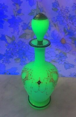RARE Antique French Green Vaseline Opaline Glass Bottle Hand Painted Enamel Gild