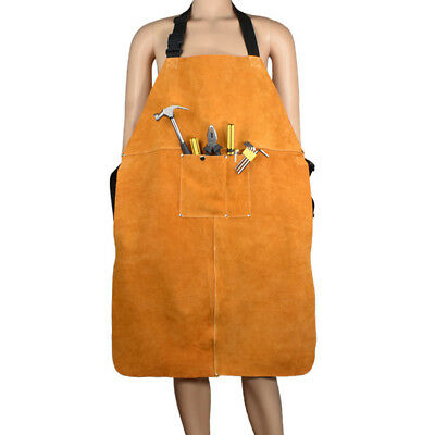 Orange Thickened Wear-Resistant Anti-Scalding Fireproof Cattlehide Cloth Apron