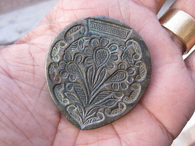 An antique old bell metal jewellery stamp die seal very intricate and early.