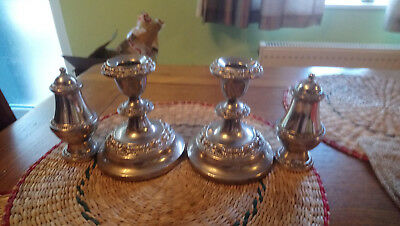 Pair Of Ornate Vintage Silver Plated Candlesticks with Salt & Pepper pots